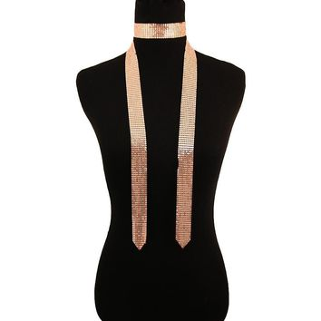 Rose Gold Mesh Choker Scarf Necklace