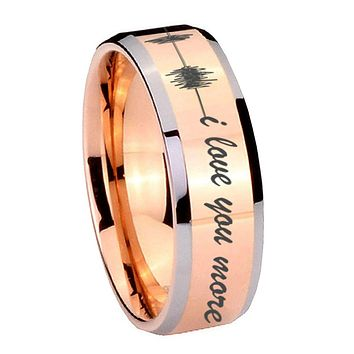 10MM Beveled Sound Wave i love you more more Rose Gold IP 2 Tone Tungsten Carbide Men's Ring