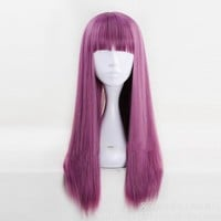 Descendants 2 Mal 60cm Purple Mix Straight Flat Bangs Synthetic Cosplay Wig Womens Halloween Party Wigs+wig cap