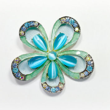 Vintage Flower Pin Monet Brooch Aqua Blue Moonstone Colored Rhinestones Soft Blue Satin Background Standout Lovely Floral Brooch