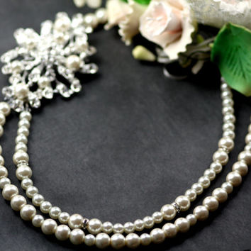 Lola Swarovski crystal double strand pearl necklace