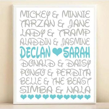 Disney Couples Personalized Names Typography Print: 8x10 or 11x14 Wedding Engagement Gift, Gray & Aqua