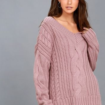 Camp Cozy Mauve Pink Cable Knit Sweater