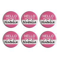 Natalie Hello My Name Is Plastic Resin Button Set of 6