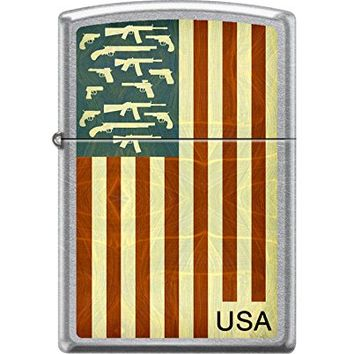 Zippo Custom Design Flag and Guns Reg Street Chrome Windproof Collectible Lighter. Made in USA Limited Edition & Rare