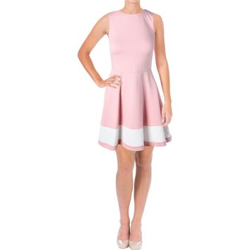 Aqua Womens Colorblock A-Line Wear to Work Dress