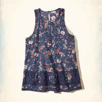 Girls Lace-Trim High-Neck Peplum Tank | Girls Tops | HollisterCo.com
