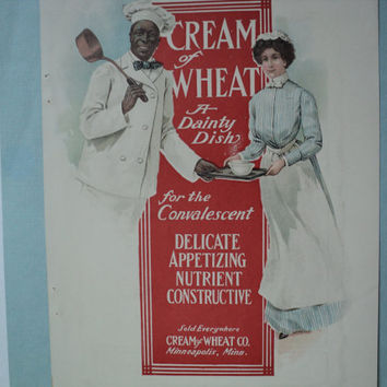Advertisement Cream of Wheat Pearline Soap 1902 Magazine Ad Chef Rastus A Dainty Dish Wall Hanging Poster Early 20th Century Home Decor Art