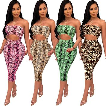 Women Sexy Printed Hollow Out Strapless Bandage Dress