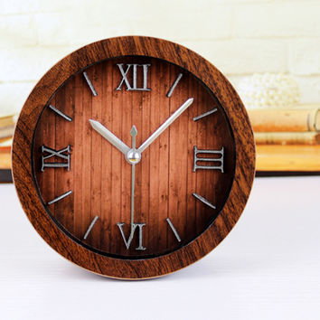 European Retro Style 3D Roman Numbers Table Clock Alarm Clock Wood Imitation Non-ticking Clock Home Decoration For Studyroom