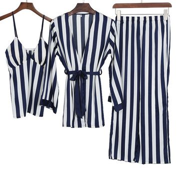 Sexy Striped Pajamas Artificial Silk Elegant Long Sleeves Shirt + Camisole + Pants Set Casual Homewear Nightgown