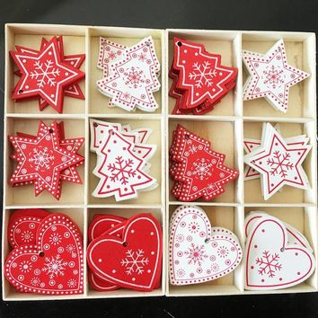 10pcs 12 Styles 5CM Natural Wood Christmas Ornaments Pendant Hanging Gifts Snowflakes Xmas Tree Decor Home Wedding Decorations,7