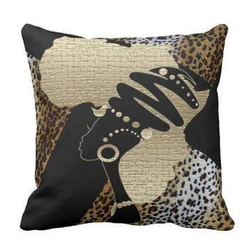 Africa In Gold Throw Pillow