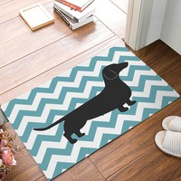 Autumn Fall welcome door mat doormat Blue And White Chevron Dachshund s Kitchen Floor Bath Entrance Rug Mat Indoor Bathroom Decor s AT_76_7
