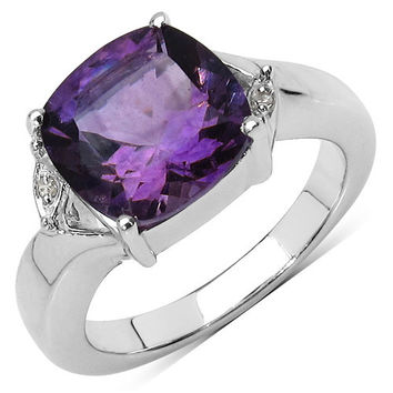 3.56 Carat Genuine Amethyst & White Diamond .925 Sterling Silver Ring
