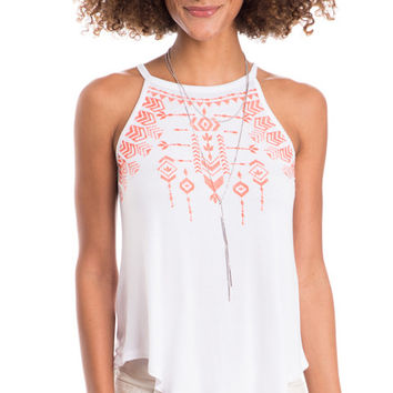 Santorini Embroidered High Neck Tank Top