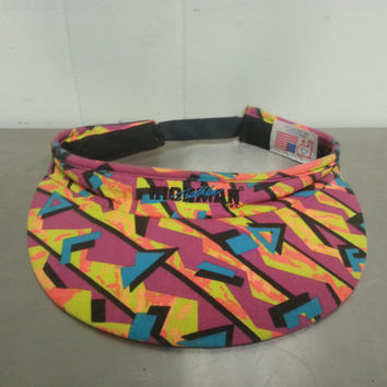 90's 80's Vintage Ironman Triathlon Visor Fresh Prince of Bel Air Style, Retro Pattern Made In USA