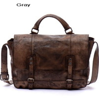 Retro distressed leather messenger bags satchel for men