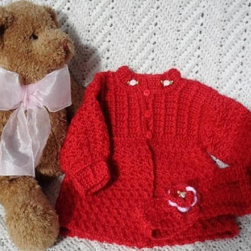 Crocheted Christmas Sweater w Headband Newborn Baby Girl Newborn 0 - 6 mo