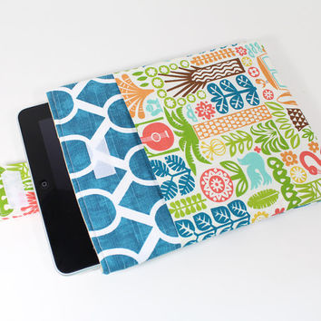 iPad case, Padded ipad cover, Tablet cover, Tablet Sleeve with Tropical fabric pocket