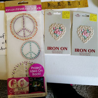 rhinestone peace sign iron on applique lot floral lace heart fabric crafts
