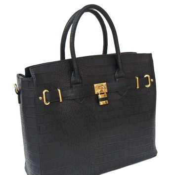 "Black Faux Alligator Crocodile Padlock iPad, Tablet or MacBook or MacBook Air 11"" - 13"" Handbag"