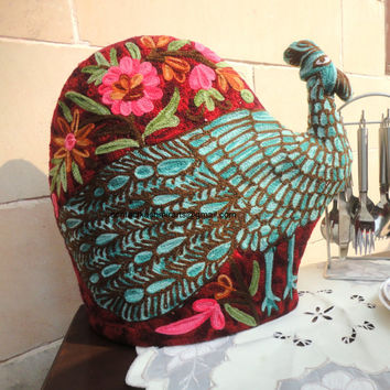 CIJ Sale/Peacock Quilted Tea Cozy/Embroidered cosy/teapot cover/Teapot Cozy/Bird teacozy/French Press Cozy/Blue tea cozy/Peafowl/custom made