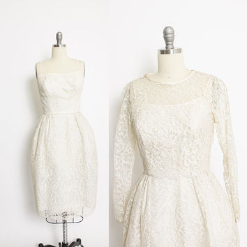 Vintage 1950s Dress - Ivory Lace Sleeveless Party Cocktail Bolero Set 50s - XS Extra Small