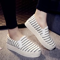 Stripe Canvas Color Blocking Flat Loafers For Women