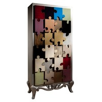 Wood veneer wardrobe PUZLE Puzle Collection by Lola Glamour