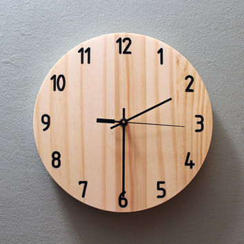 Modern Wood Clock Wall Wooden Neutral Numbered Home Cool