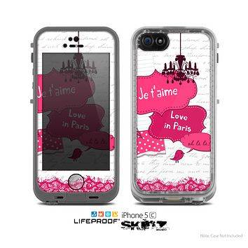 The Paris Pink Illustration Skin for the Apple iPhone 5c LifeProof Case