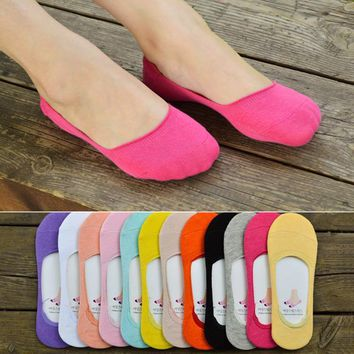 New 2017 korean style candy colored cotton female boat women ankle socks invisible women summer slipper low cut socks