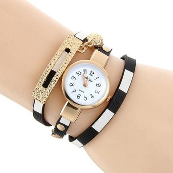 DUOYA Luxury Women Watches Pendant Rhinestone Braided Leather Analog Quartz Bracelet Bangle Wrist Watch relogio feminino Clock