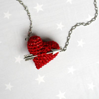 Necklace crochet red heart and arrow... Mother's day necklace.