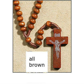 Franciscan Rosary Beads with Wooden Cross - Brown
