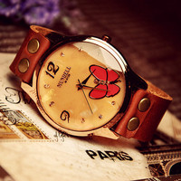 Women's Wrist Watch Leather Butterfly (WAT0030)