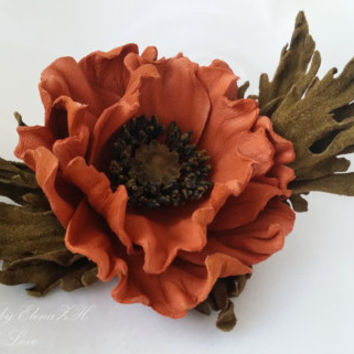 Orange Poppy - leather / suede flower brooch or floral headpiece, flower headband.
