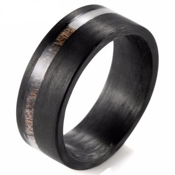 Black Flat Solid Carbon Fiber Titanium Inlay Real Dark Antler Mens Ring