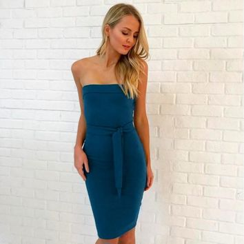 Tube Dress with Waist Bands