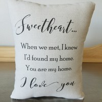 Anniversary gift pillow I love you cushion handmade throw pillow