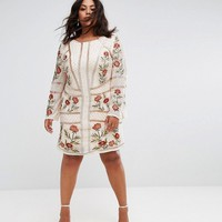 Frock And Frill Plus All Over Embellished Rose Dress With Long Sleeves at asos.com