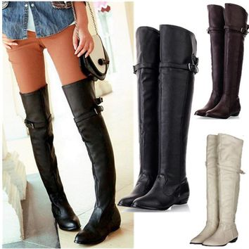 Winter Leather Knight Boots Over Knee Thigh High Women Shoes Flat Heel Buckle