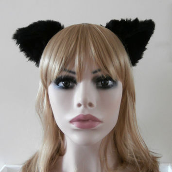 Sale Faux Fur Cat Fox Ear Hair Headband Black Gothic Lolita Neko Kitty Kawaii Soft High Quality Adjustable Ears Handmade Necomimi