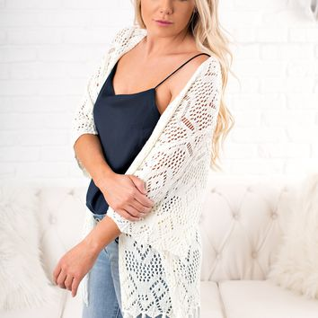 Jayce Fringe Cardigan (Off White)