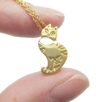 Kitty Cat and Fish Shaped Animal Themed Pendant Necklace in Gold