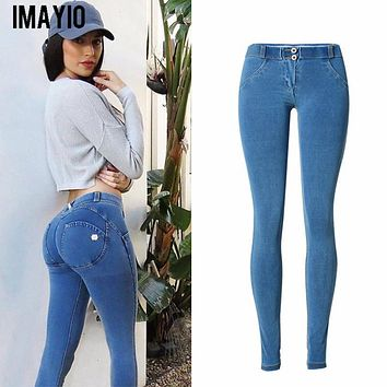 Imayio High waist Jeans Woman Skinny push up Jeans slim blue Denim Pencil Pants Stretch Women plus size sexy Jeans Pants Calca