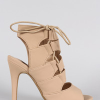 Cutout Corset Lace Up Open Toe Heel