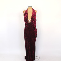 Vintage 90s does 1930s 1940s Maroon Velvet Jeweled Art Deco Dress Old Hollywood Femme Fatale Noir Long Gown Flapper Gatsby Backless Dress
