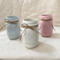 Set of 3 Chalk Painted Mason Jar, Mason Jar, Ball jar, Chalk Paint, Distressed Mason Jar, shabby Chic, rustic jar, shabby chic